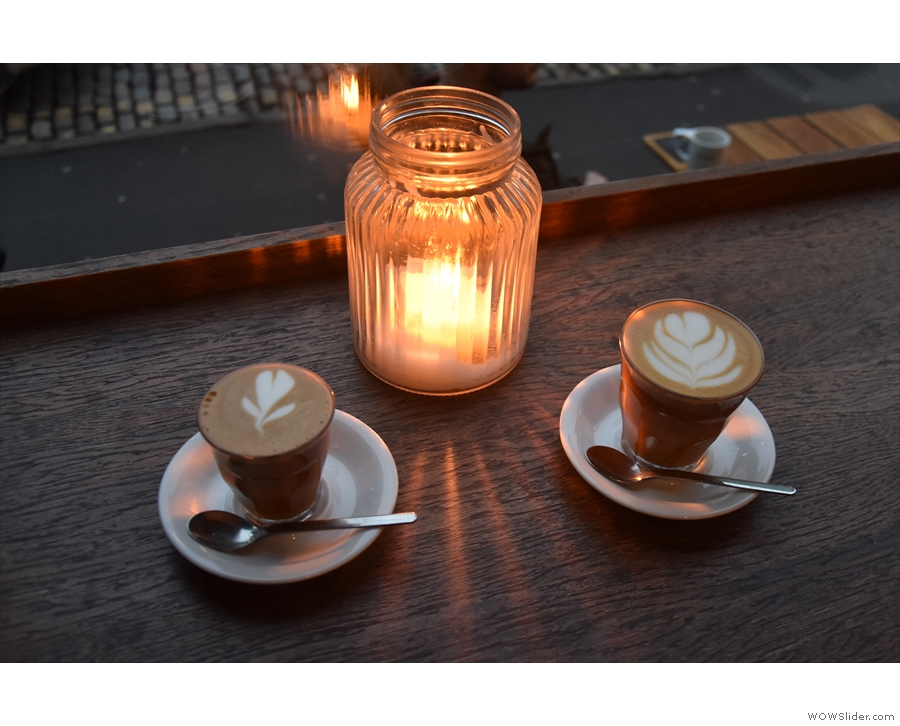 I'll leave you with our coffees, enjoying the candlelight.