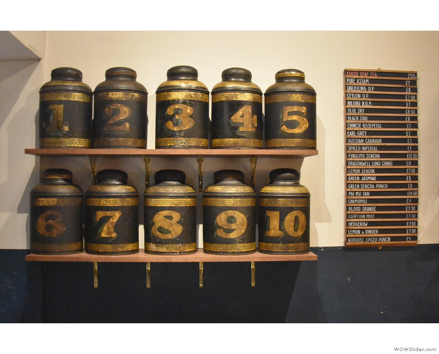 There's a list of teas on the wall, while I really liked the old cannisters.