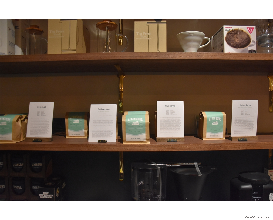 ... and retail bags, including a full range of Atkinsons' blends and single-origins.