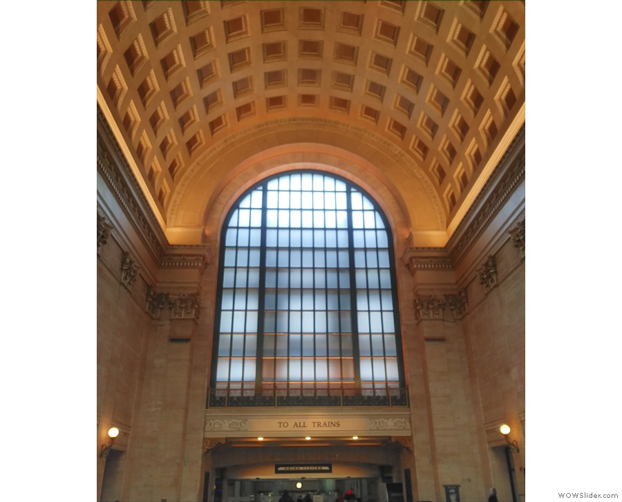 The train goes all the way to the soaring halls of Union Station.
