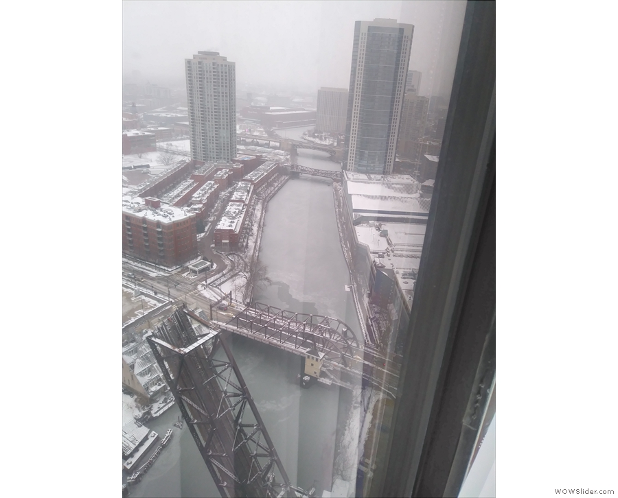The room also afforded a great view along the North Branch of the Chicago River.