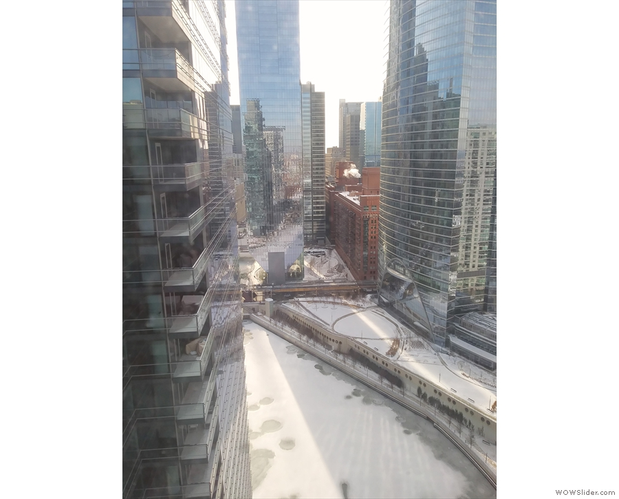 The Chicago River was still frozen solid though. However...