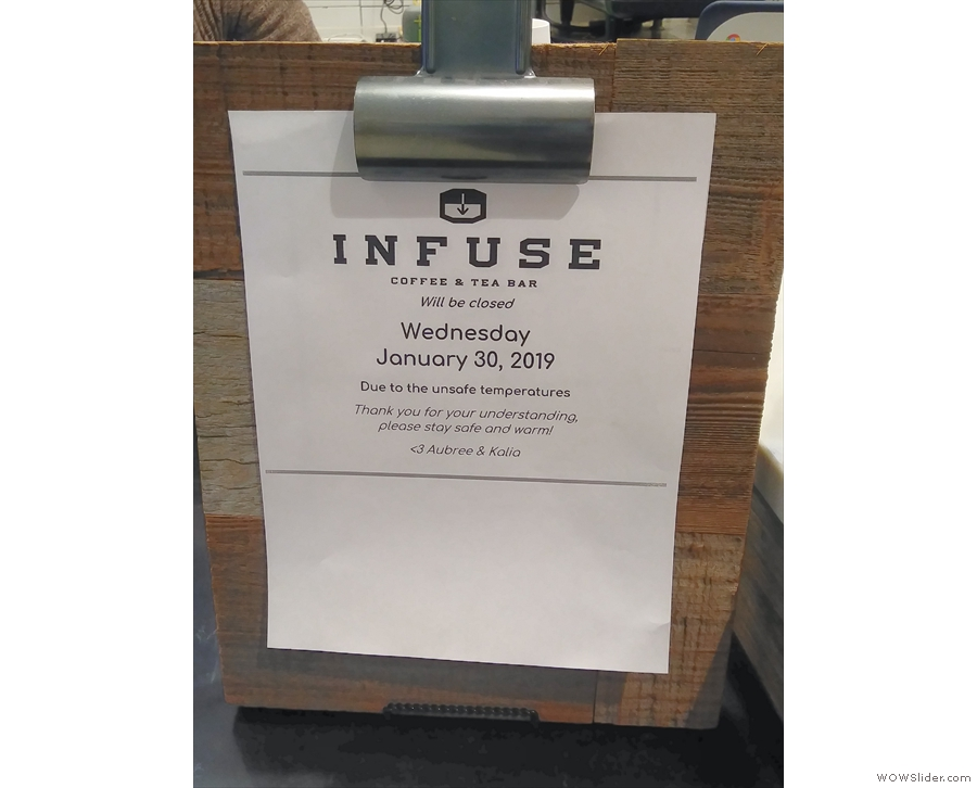 However, with the plumetting temperatures, came bad news: Infuse would be closed!
