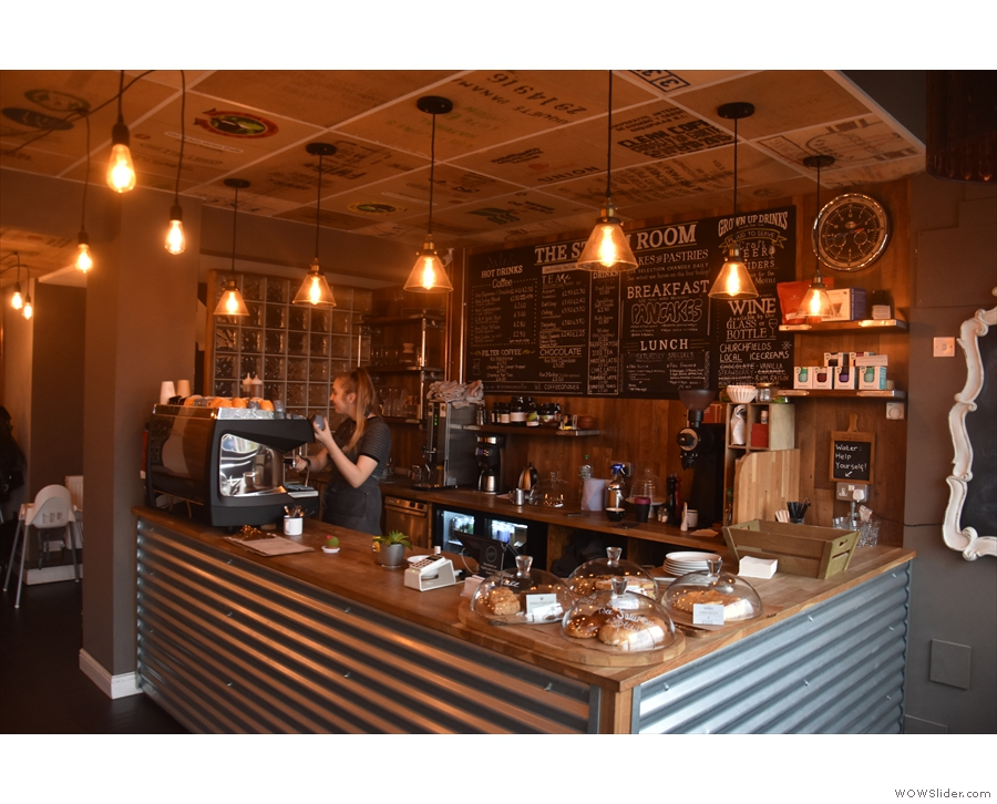 Down to business. You order at the counter, where you'll find the espresso machine...
