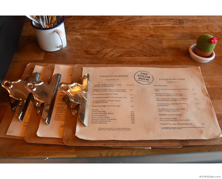 If you're looking for food, the main brunch menu is on the counter...