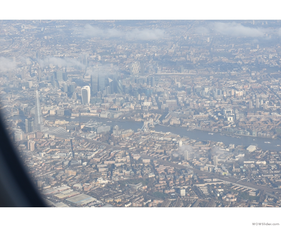 Here comes Tower Bridge and the City of London, with the Shard on the left.
