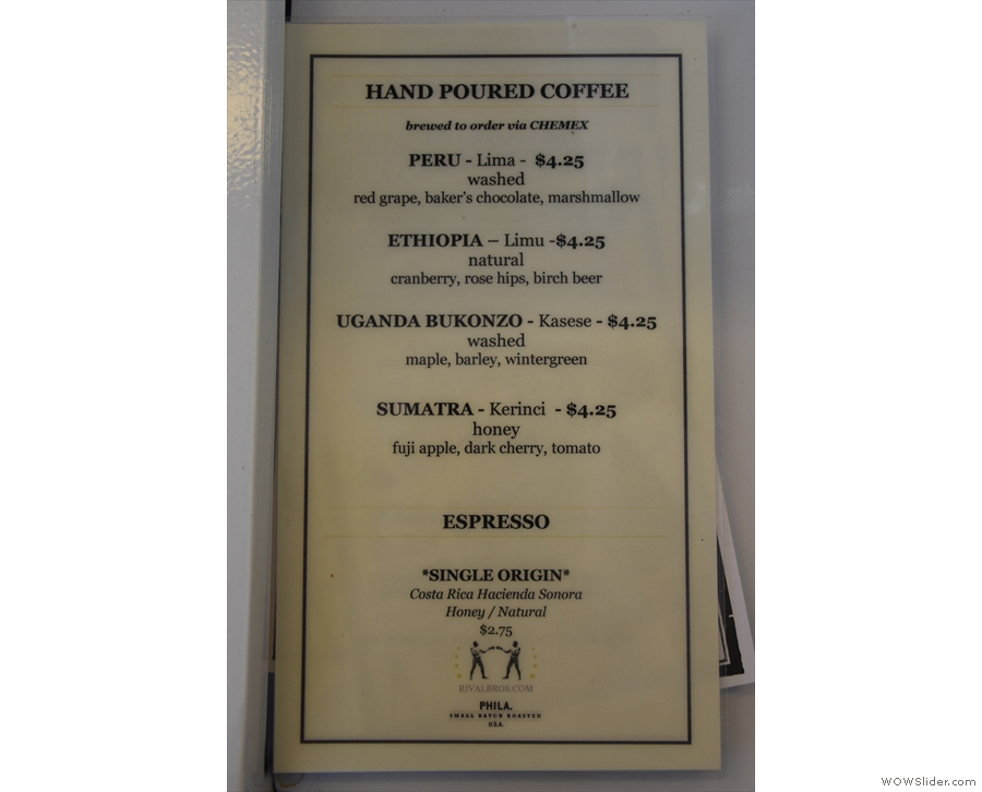 Meanwhile, there are separate cards for the pour-over and espresso choices...