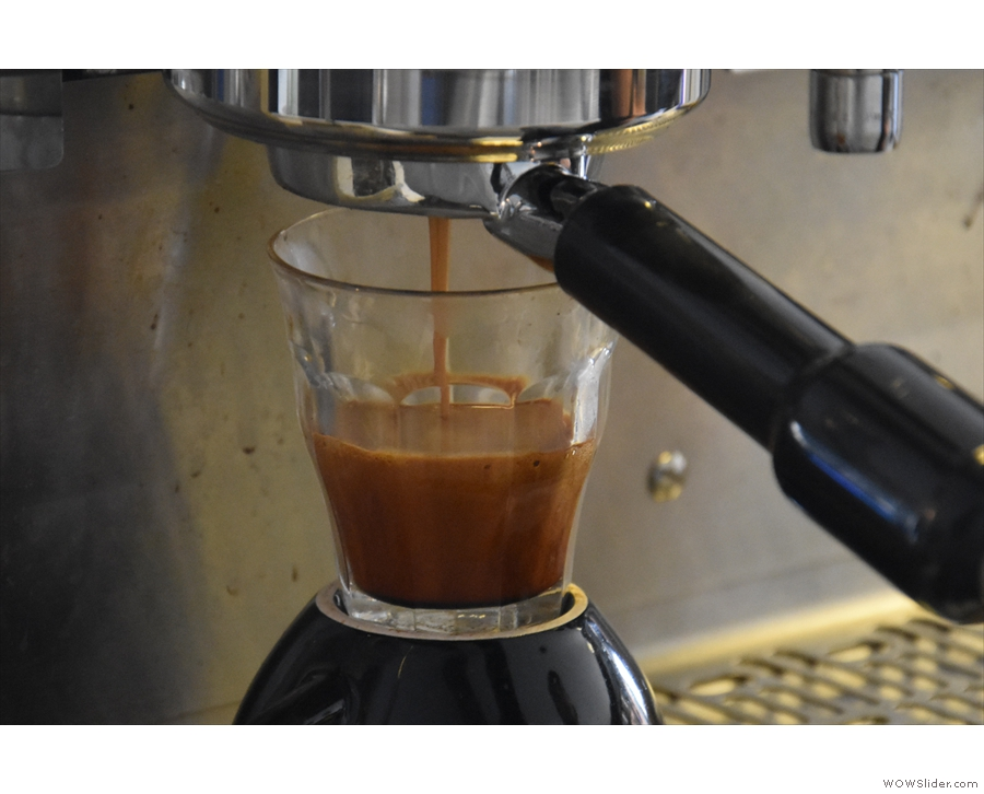 Look at that crema develop! I love watching espresso extract into glass.