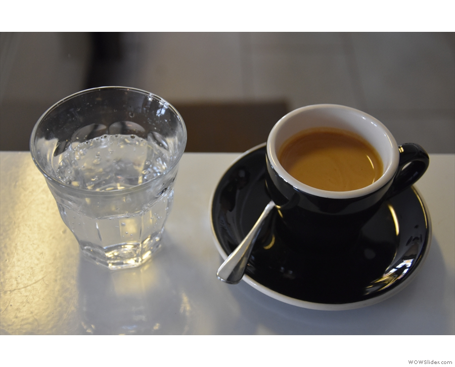 And this was my single-origin espresso, served with a glass of water on the side.