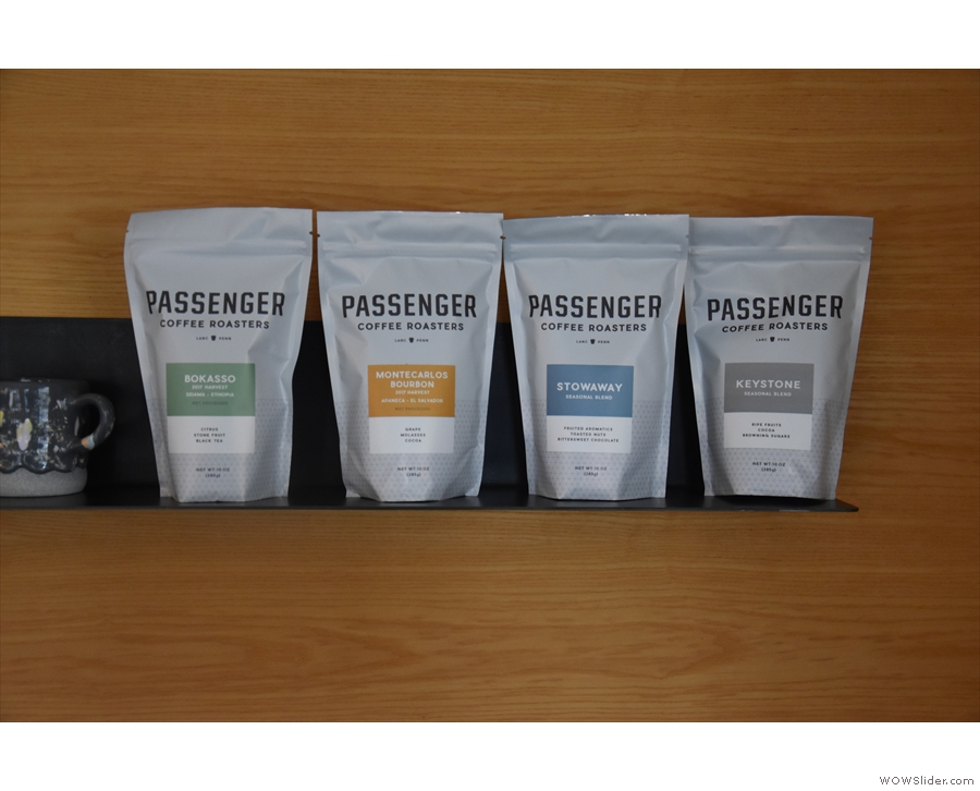 ... retail bags of coffee (from Passenger Coffee Roasters when I visited in 2018).