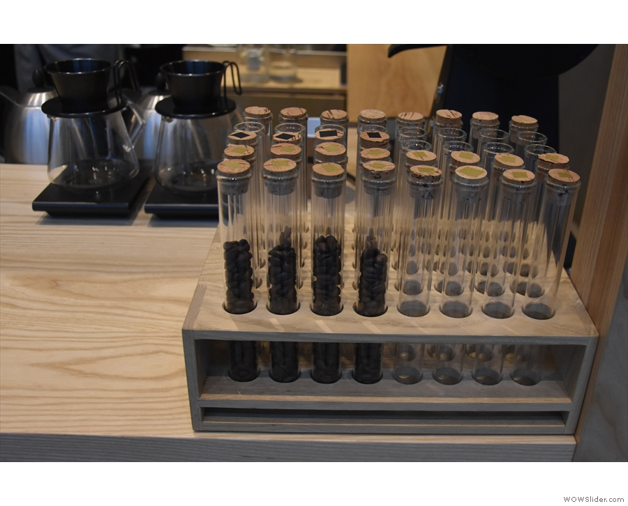 There are also test tubes down here with pre-dosed shots of the coffee beans.