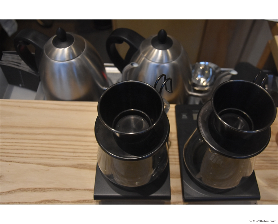... a pair of single-serve Kalita Wave filters, each with its own kettle and scales.
