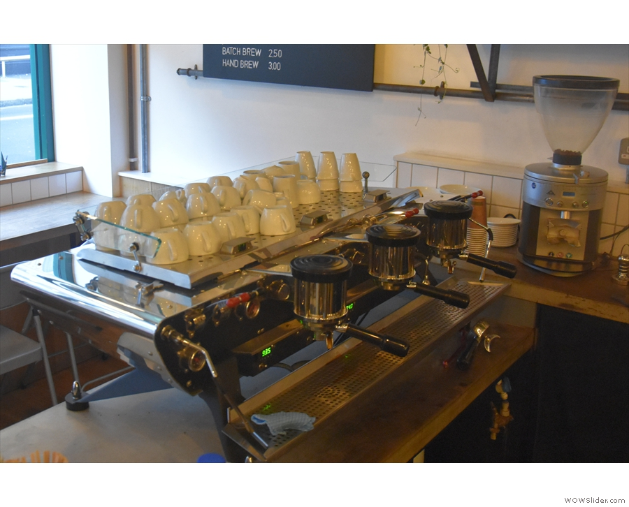 The espresso machine, a gorgeous Kees van der Westen Spirit, is off to the left...