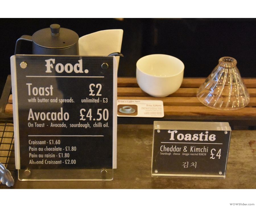 There's a choice of toast, avocado on toast or a toastie.