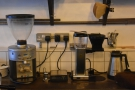 The espresso grinder is on the left, along with the Moccamaster batch-brewer.