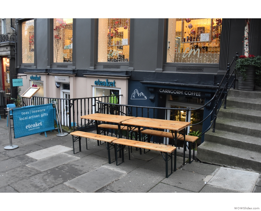 On Frederick Street, next to Eteaket, you'll find a pair of tables on the pavement...