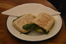 I was there for lunch, enjoying a bree, tomato, pesto and spinach panini.