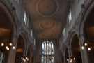 ... down the main aisle to the door at the front of the church, the ceiling...