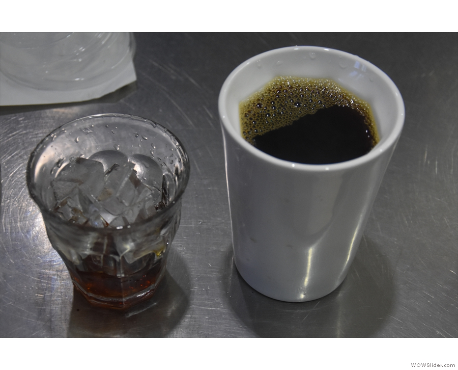 Unusually, my coffee, served in my Therma Cup, had a little bit poured over ice as well.