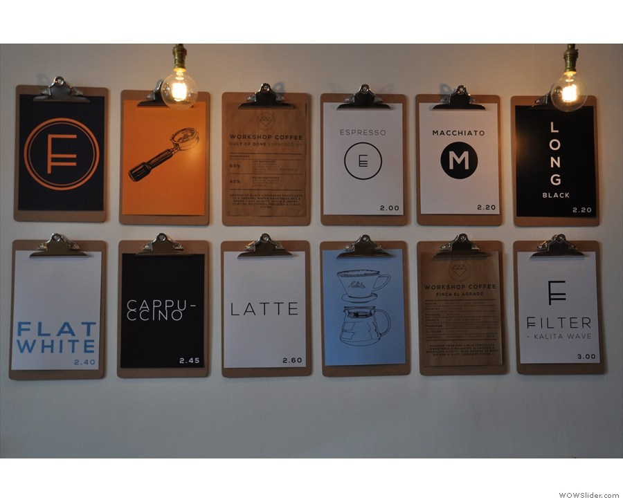 The innovative clipboard menu on the wall to the left is still there. This is how it looked in...