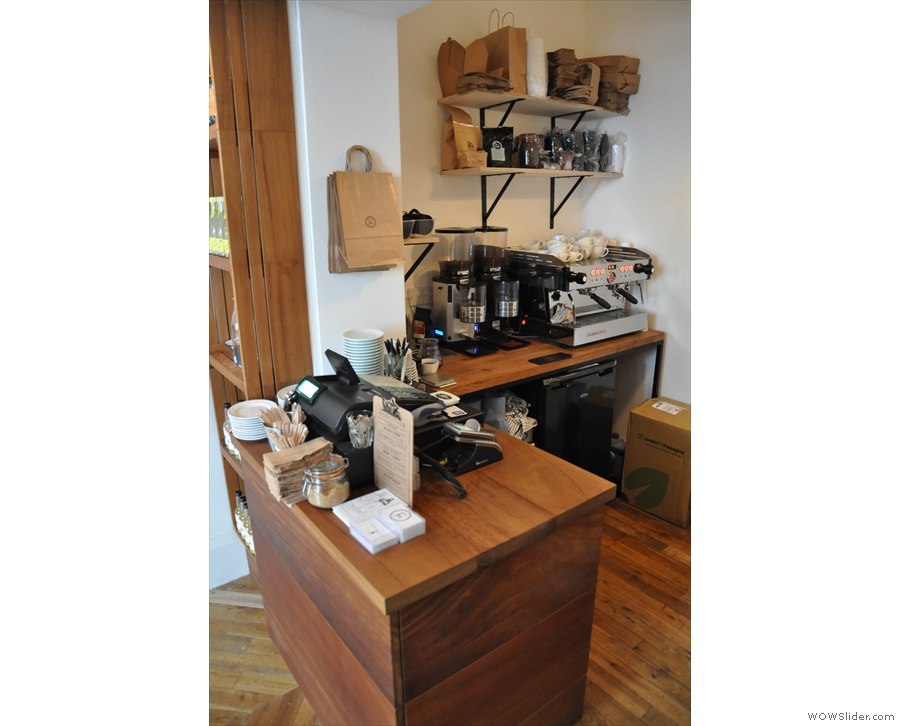The original counter, with the two-group La Marzocco Linea tucked away in the corner.