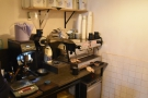 ... although the La Marzocco is still tucked away in the corner!