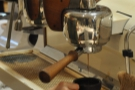 ... at the end of the counter, you get a good view of the espresso extracting.