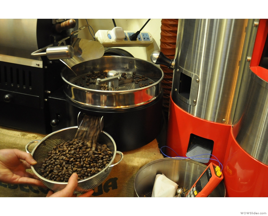 ... and before long, we had freshly-roasted coffee.