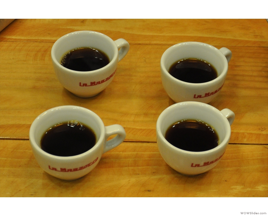 ... four samples of a freshly-roasted Antigua bean from Guatemala.