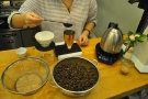 You can't get coffee fresher than this. The newly-roasted coffee is weighed out...