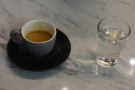 My espresso, served with a glass of water, of course...