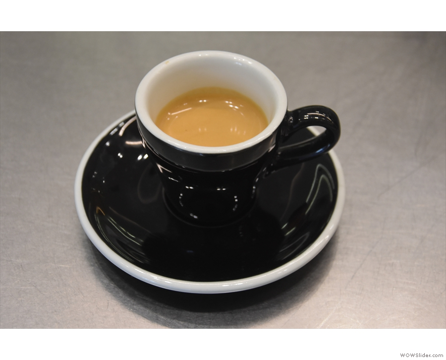 ... serve. My single-origin Ethiopian Idido espresso, in a classic black cup...