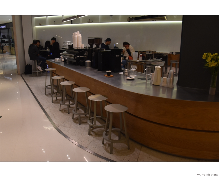 If you want to sit at the counter, you can. There are six stools down the side of the...