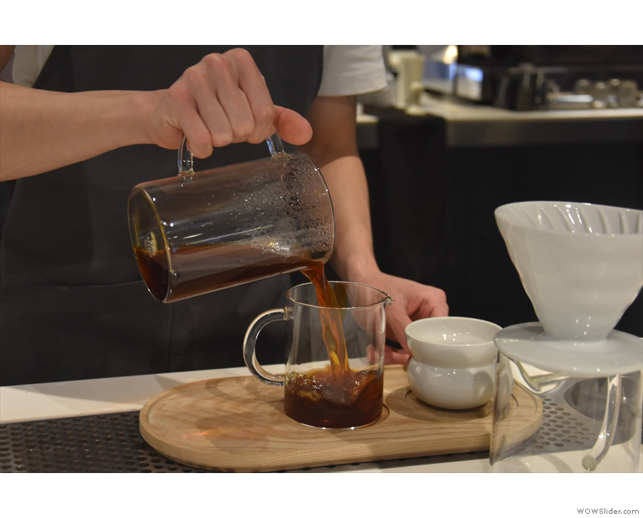 ... and the coffee is poured into the carafe, ready for serving.