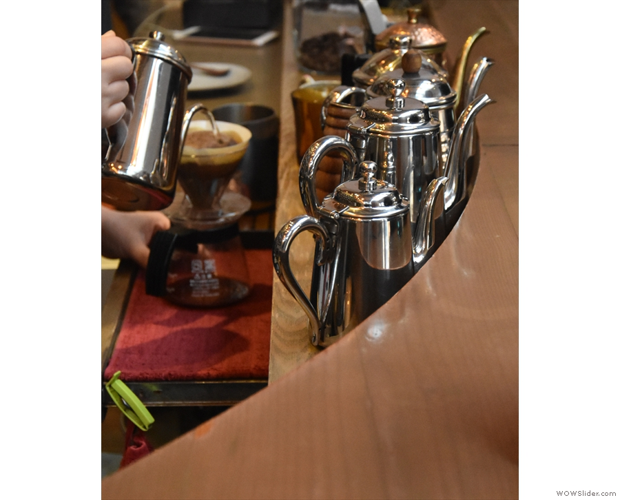 The V60 is topped up with a continuous pour...