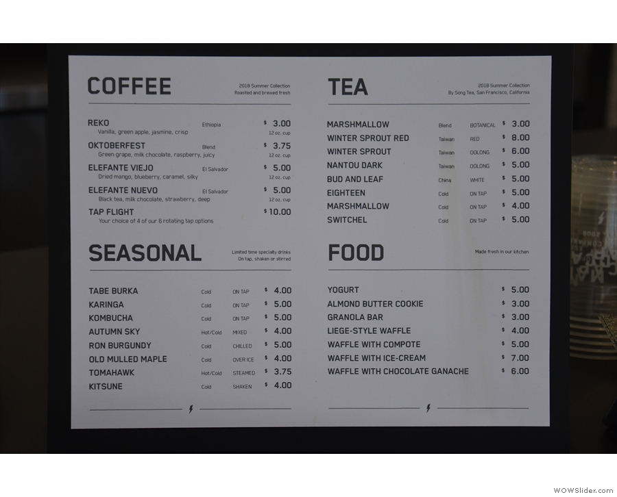 ... with a printed menu on the counter-top by the till providing more detail.