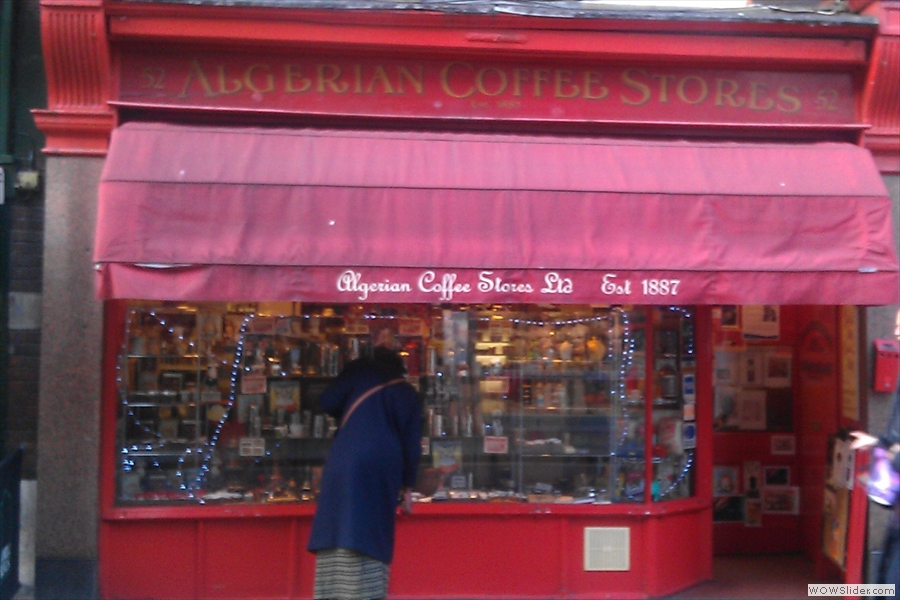 Soho's Algerian Coffee Stores, where I get my espresso beans when I can't get to Rome