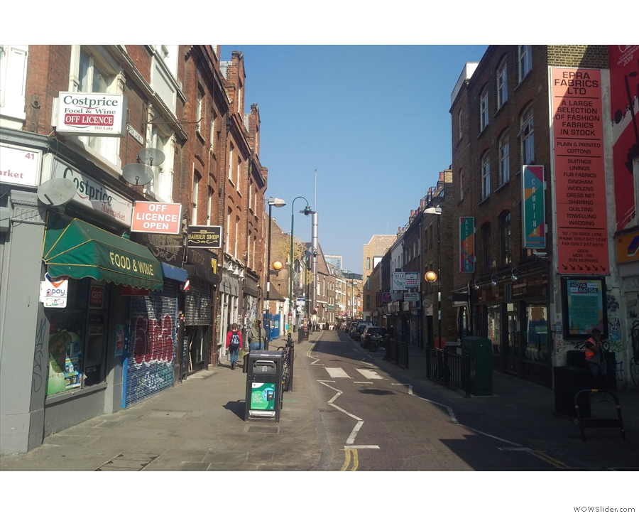 Brick Lane, home of the Old Truman Brewery, on a very quiet Friday morning.