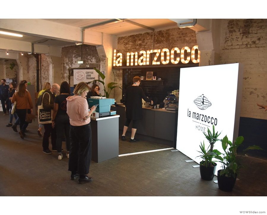 There's also a La Marzocco merchandising stand...