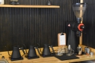 ... while there's a Mahlkonig EK-43 to the right for filter. The kettles, however, are for...