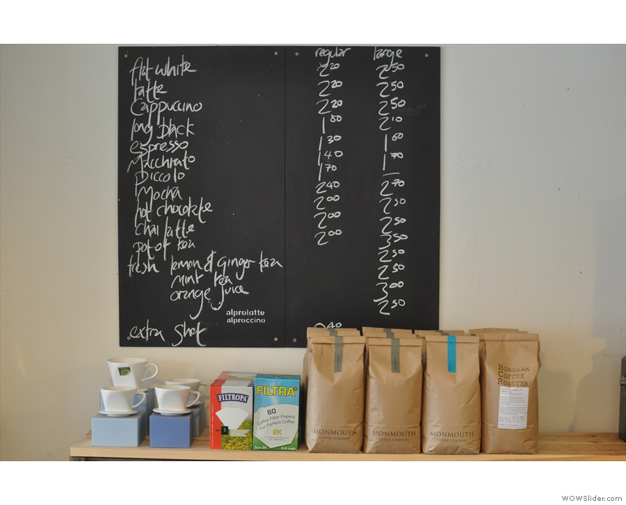 The coffee menu as it was in 2013...