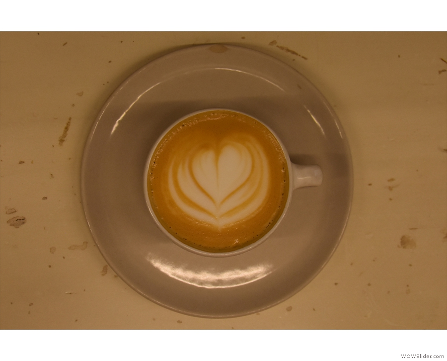 The latte art is impressive in such a small cup...