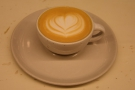 I started off with a 4oz with milk, aka a cortado, served in a stoneware bowl-like cup.