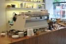 The view of the espresso machine from my table...