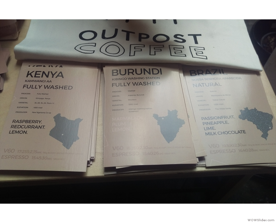 Outpost had two washed coffees & a Brazilian natural, but the standout for me was the...