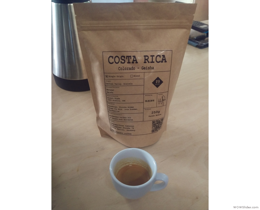I had a lovely Costa Rican Geisha, unusual in that 19 Grams roasted it as an espresso.