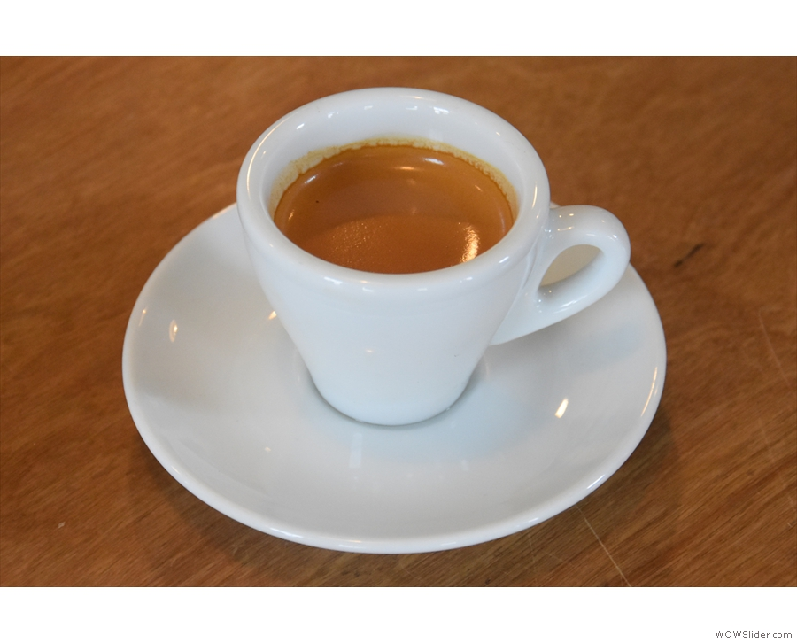 I started with the single-origin espresso, an Ethiopian Ardi.