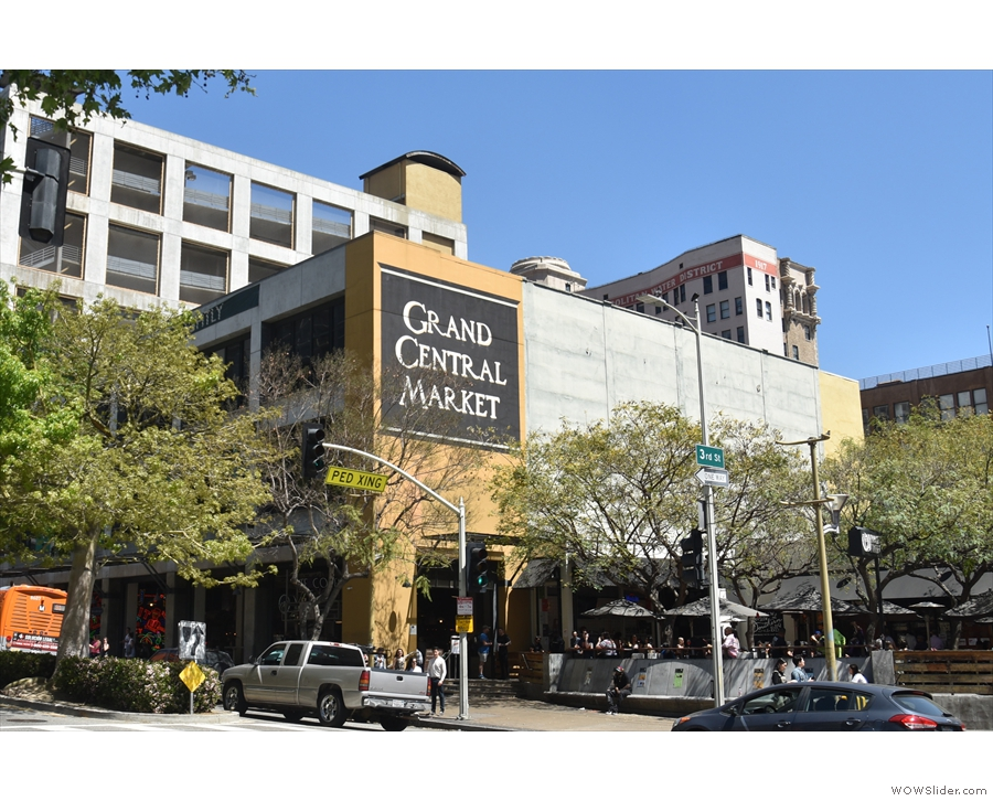 Los Angeles' Grand Central Maarket, seen approaching from the west along Hill Street.