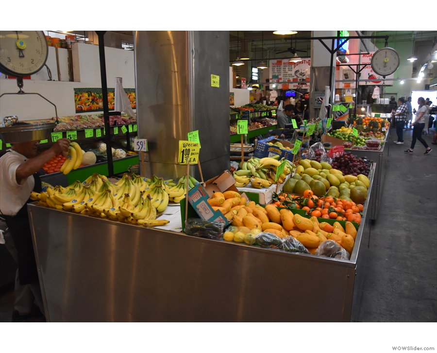 It's mostly food stalls, with the occasional  fruit and veg stall such as this one.