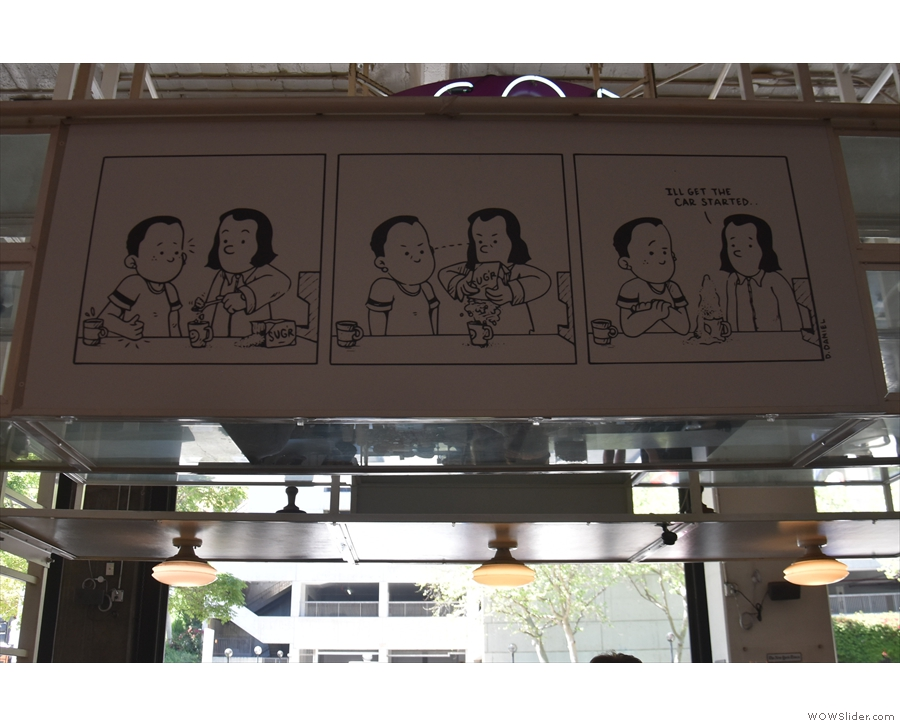 There are some neat touches around the place, including this cartoon above the counter.